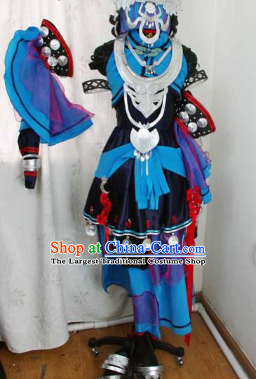 Traditional Chinese Cosplay Swordswoman Blue Hanfu Dress Ancient Taoist Nun Embroidered Costume for Women
