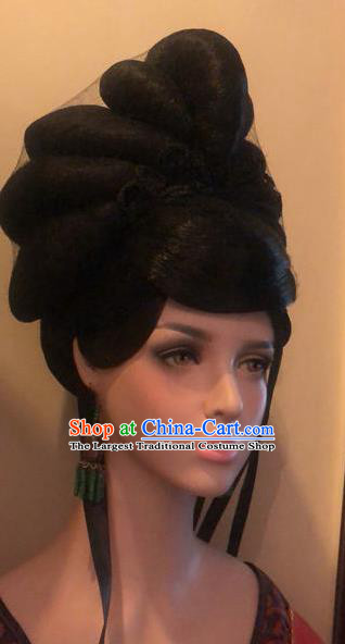 Traditional Chinese Tang Dynasty Palace Queen Wigs Ancient Empress Chignon Hair Accessories for Women