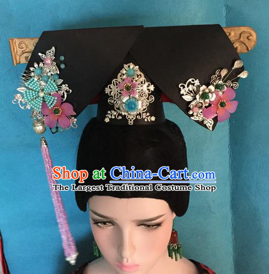 Traditional Chinese Qing Dynasty Imperial Consort Phoenix Headwear Ancient Manchu Lady Hair Accessories for Women