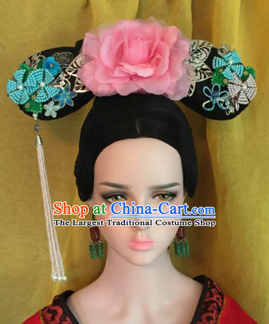 Traditional Chinese Qing Dynasty Imperial Consort Pink Peony Headwear Ancient Manchu Lady Hair Accessories for Women