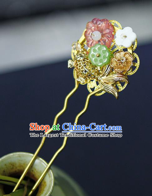 Traditional Chinese Wedding Lotus Carp Hairpins Handmade Ancient Bride Hair Accessories for Women
