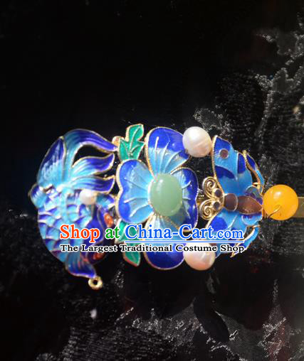 Traditional Chinese Handmade Queen Blueing Carp Hairpins Ancient Imperial Empress Hair Accessories for Women