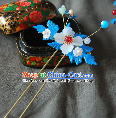 Handmade Chinese Ancient Qing Dynasty Imperial Consort Cloisonne Leaf Hairpins Headwear Hair Accessories for Women
