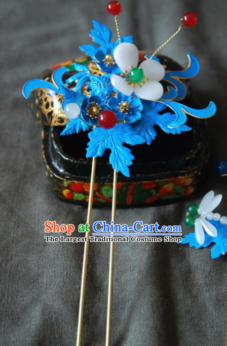 Handmade Chinese Ancient Qing Dynasty Imperial Consort Cloisonne Carp Hairpins Headwear Hair Accessories for Women
