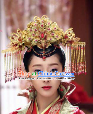 Handmade Chinese Traditional Phoenix Coronet Hanfu Hairpins Ancient Tang Dynasty Princess Hair Accessories for Women