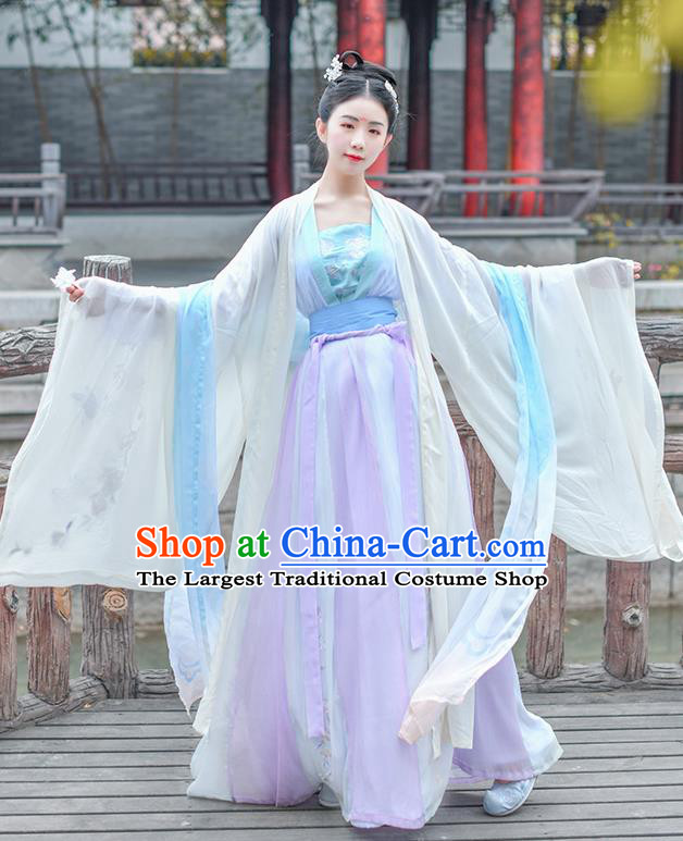 Chinese Ancient Imperial Consort Embroidered Hanfu Dress Traditional Tang Dynasty Royal Court Historical Costume for Women