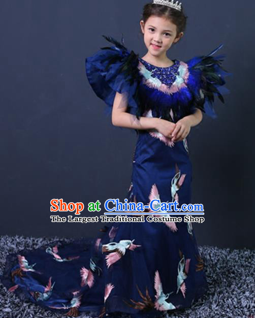 Chinese Stage Performance Embroidered Cranes Blue Full Dress Catwalks Modern Fancywork Dance Costume for Kids