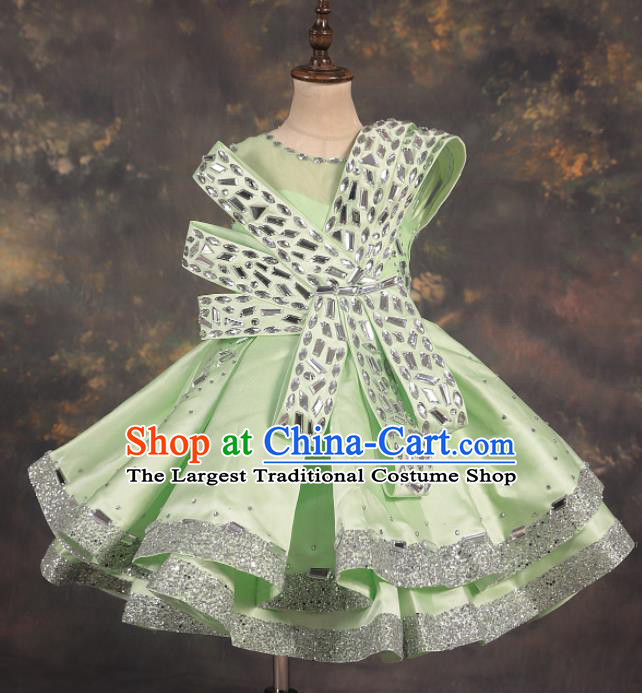 Professional Catwalks Stage Show Dance Crystal Green Dress Modern Fancywork Compere Court Princess Costume for Kids