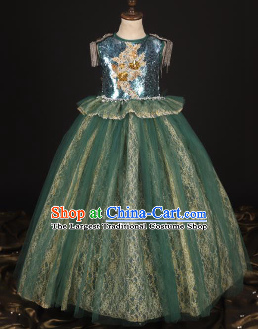 Professional Catwalks Stage Show Dance Green Veil Dress Modern Fancywork Compere Court Princess Costume for Kids