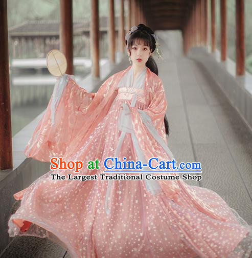 Traditional Chinese Tang Dynasty Princess Pink Hanfu Dress Traditional Ancient Peri Goddess Historical Costume for Women