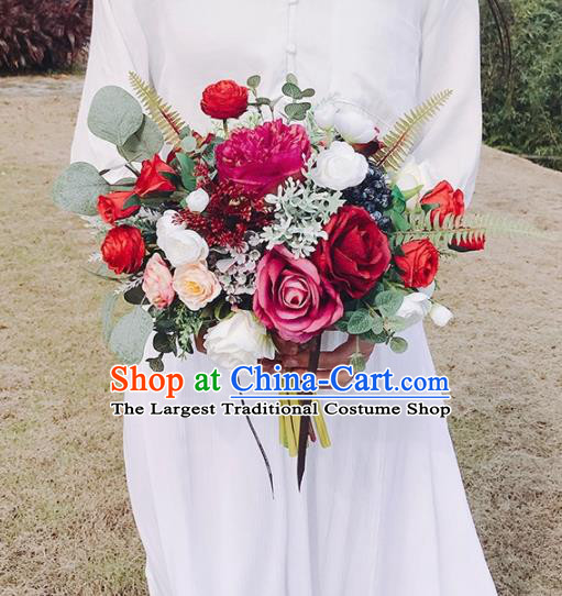 Handmade Classical Wedding Bride Holding Emulational Red Peony Flowers Ball Hand Tied Bouquet Flowers for Women
