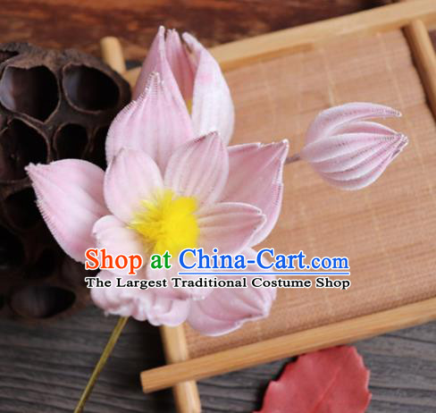 Chinese Handmade Wedding Pink Velvet Lotus Hairpins Ancient Palace Queen Hair Accessories Headwear for Women