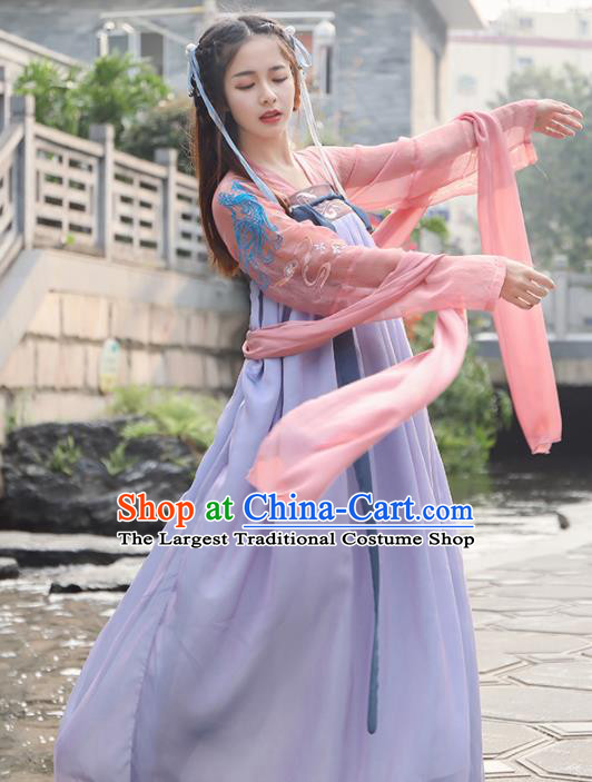 Chinese Traditional Tang Dynasty Princess Historical Costume Ancient Peri Hanfu Dress for Women