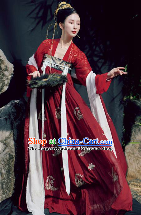 Chinese Traditional Tang Dynasty Princess Wedding Historical Costume Ancient Peri Embroidered Red Hanfu Dress for Women
