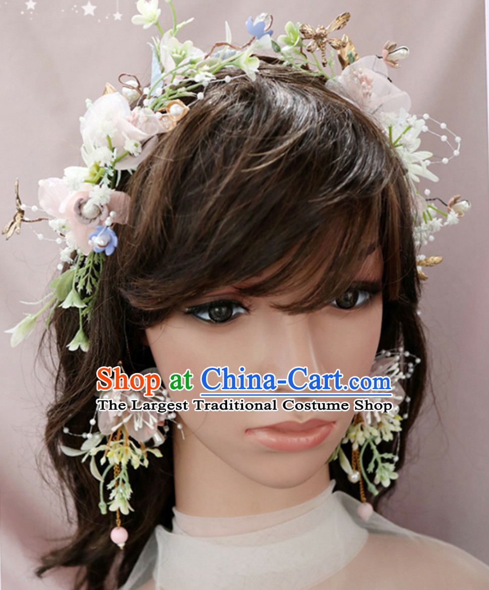 Romantic Handmade Beautiful Wedding Garland Hair Decoration and Earring Full Set for Girls