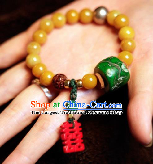 Handmade Chinese Classical Bracelet Ancient Palace Coral Wedding Hanfu Bangle Accessories for Women