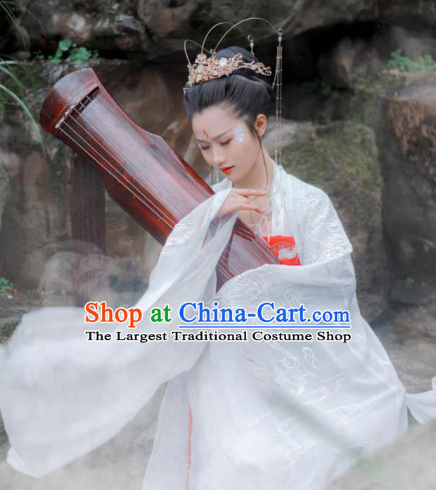 Chinese Traditional Tang Dynasty Imperial Consort Historical Costume Ancient Peri Embroidered Hanfu Dress for Women