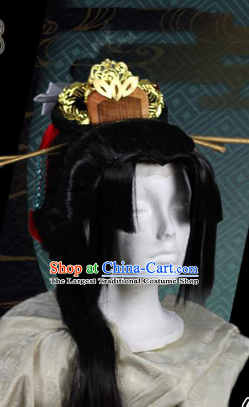 Chinese Traditional Cosplay Swordsman Wig Ancient Prince Wig Sheath for Men