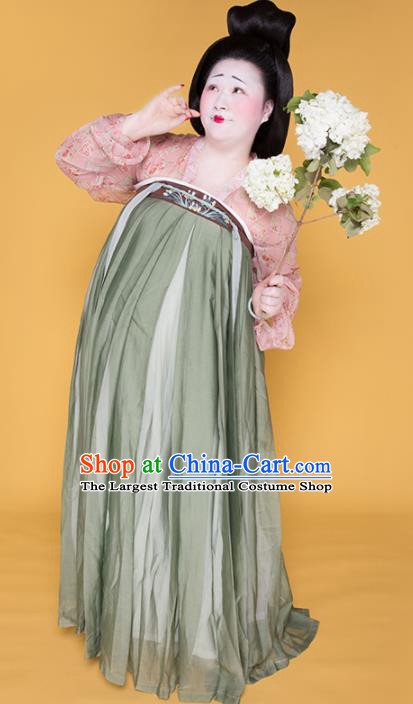 Traditional Chinese Tang Dynasty Gigaku Costume Ancient Court Large Size Hanfu Dress for Women