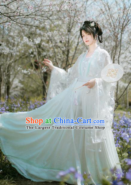 Chinese Ancient Peri White Hanfu Dress Traditional Tang Dynasty Court Princess Costume for Women