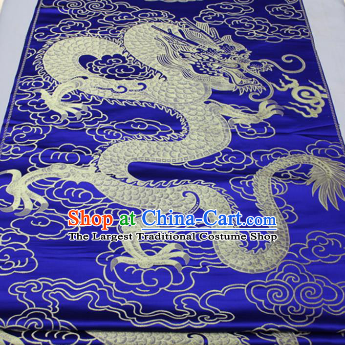 Asian Chinese Traditional Tang Suit Royal Dragon Pattern Royalblue Brocade Satin Fabric Material Classical Silk Fabric