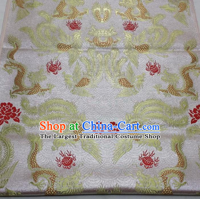 Chinese Traditional Fabric Royal Dragon Phoenix Pattern White Brocade Material Hanfu Classical Satin Silk Fabric