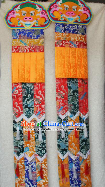 Chinese Traditional Buddhist Colorful Brocade Streamer Tibetan Buddhism Temple Decoration