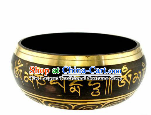 Chinese Traditional Feng Shui Items Buddhism Copper Sanskrit Bowl Buddhist Decoration