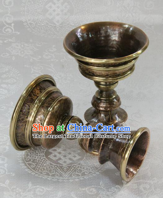 Chinese Traditional Buddhism Copper Cup Butter Lamp Feng Shui Items Vajrayana Buddhist Candelabrum Decoration