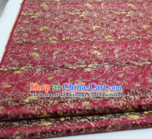 Asian Chinese Traditional Royal Pattern Wine Red Brocade Tang Suit Satin Fabric Material Classical Silk Fabric