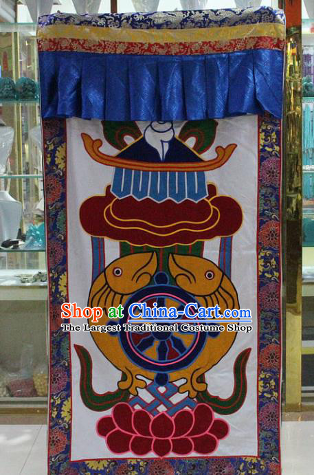 Chinese Traditional Buddhist Brocade Door Curtain Tibetan Buddhism Portiere Decoration