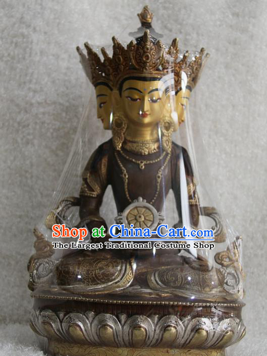 Chinese Traditional Buddhist Copper Buddha Vairochana Statue Tibetan Buddhism Feng Shui Items Sculpture