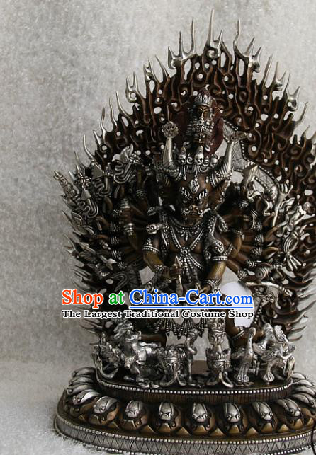 Chinese Traditional Buddhist Copper Buddha Vajra Dharma Statue Tibetan Buddhism Feng Shui Items Sculpture