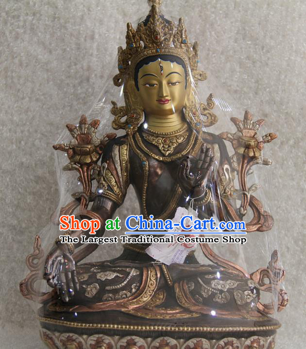 Chinese Traditional Buddhist Copper Buddha Statue Decoration Tibetan Buddhism Feng Shui Items Sculpture