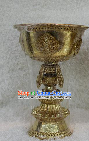 Chinese Traditional Buddhist Brass Carving Lampstand Buddha Cup Decoration Tibetan Buddhism Feng Shui Items