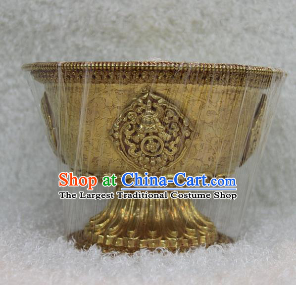 Chinese Traditional Buddhist Offersacrifice Brass Carving Bowl Buddha Cup Decoration Tibetan Buddhism Feng Shui Items