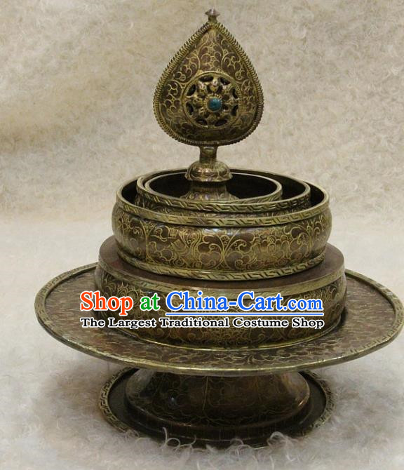 Chinese Traditional Feng Shui Items Buddhism Copper Tray Buddhist Teaboard Decoration