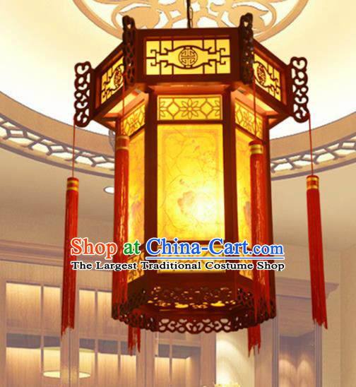 Chinese Traditional Handmade Sheepskin Palace Lantern Classical Wood Carving Hanging Lanterns Ceiling Lamp