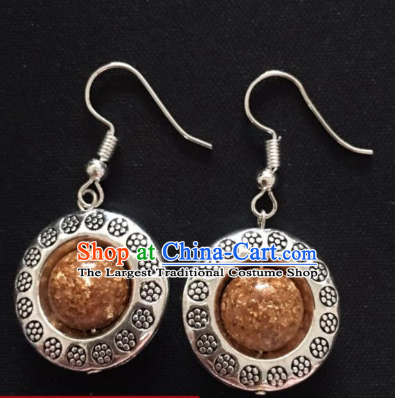 Chinese Mongol Nationality Golden Ball Ear Accessories Traditional Mongolian Ethnic Sliver Earrings For Women Jpg