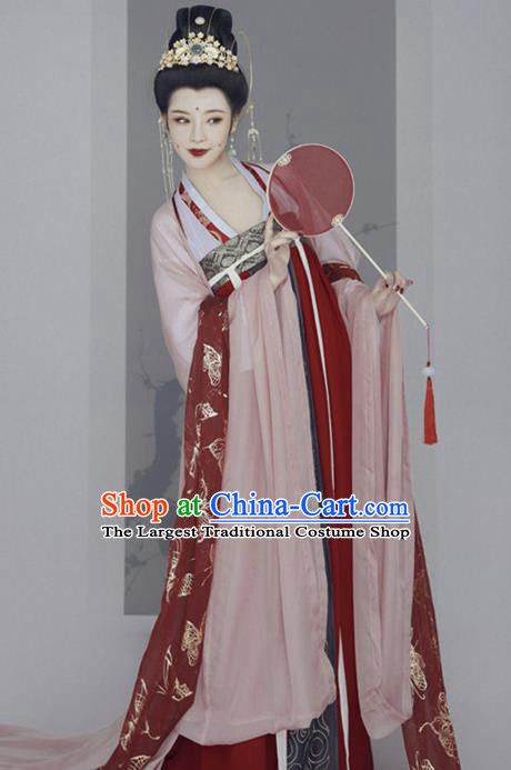 Chinese Ancient Court Concubine Hanfu Dress Traditional Tang Dynasty Palace Lady Historical Costume for Women
