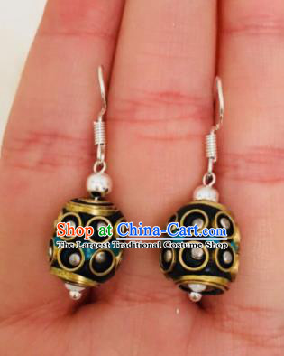 Chinese Traditional Ethnic Black Bead Earrings Mongol Nationality Ear Accessories for Women