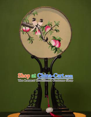 Handmade Chinese Traditional Double Side Silk Round Fan Classical Embroidered Peach Palace Fans for Women