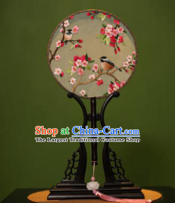 Handmade Chinese Double Side Silk Embroidered Round Fan Traditional Classical Palace Fans for Women