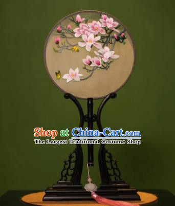 Handmade Chinese Double Side Silk Embroidered Magnolia Round Fan Traditional Classical Palace Fans for Women