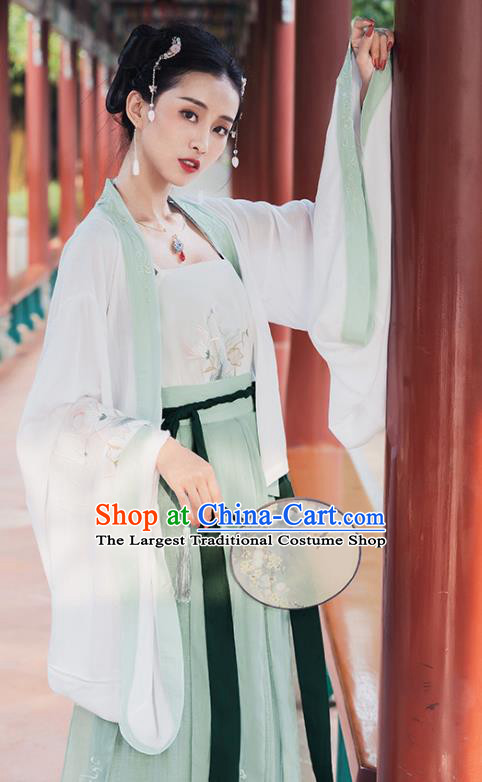 Chinese Traditional Embroidered Hanfu Dress Ancient Song Dynasty Young Lady Historical Costume for Women