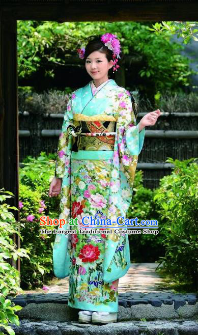 Japanese Traditional Green Furisode Kimono Asian Japan Costume Geisha Yukata Dress for Women