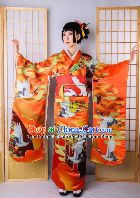 Japanese Classical Printing Cranes Red Furisode Kimono Asian Japan Traditional Costume Geisha Yukata Dress for Women