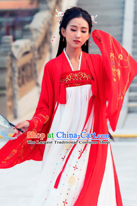 Ancient Chinese Tang Dynasty Court Princess Historical Costume Traditional Palace Dance Embroidered Hanfu Dress for Women