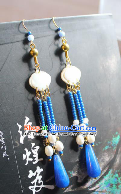 Handmade Chinese Ancient Princess Blue Beads Tassel Earrings Traditional Hanfu Jewelry Accessories for Women
