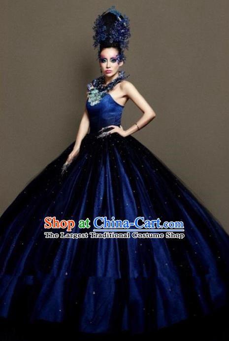 Handmade Modern Fancywork Cosplay Royalblue Full Dress Halloween Stage Show Fancy Ball Costume for Women